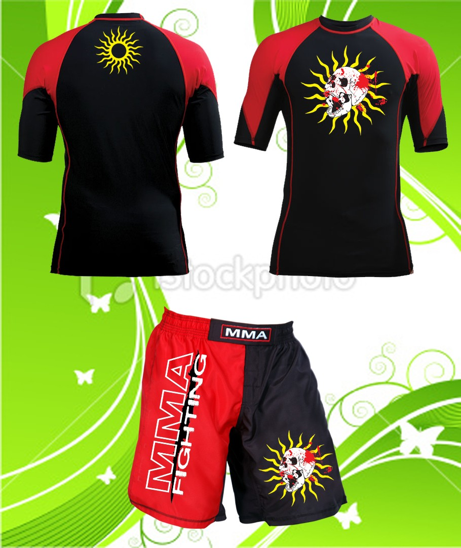 Woldorf USA MMA Shorts in Polyester Brazilian Flag on Side